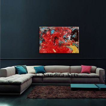 "Modern Wall Art Original Oil painting 36"" Red Abstract Painting Turquoise Artwork Multi Color Contemporary Art home decor wall hanging"