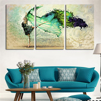 2016 Wall Art Oil Painting Green Girl Butterfly Fly Canvas Art Printed Paints Home Decoration Gift For Room 3Peices Unframed