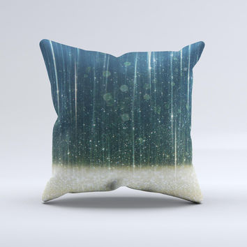 The Scratched Blue and Gold Showers ink-Fuzed Decorative Throw Pillow
