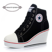 Free shipping 2014 badge wedges high lacing casual elevator shoes female canvas shoes high top wedge sneakers women sport shoes