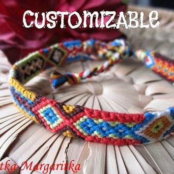 Friendship Bracelet woven Customizable Aztec  Fiber Cotton Hippie Boho Surfer macrame wristband valentine Love Boyfriend