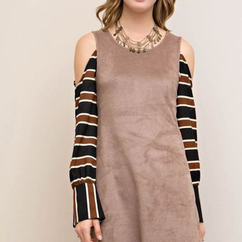 Solid Suede Shift Dress