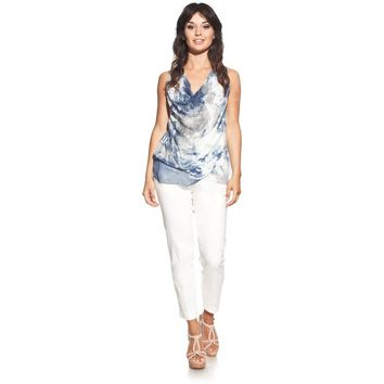 Silk blouse colour marine with draped neck and tie-dye print