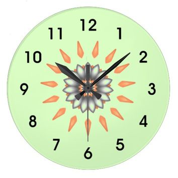 Orange and Silver Starburst Flower Large Clock