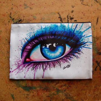 Eye - Cosmetic Bag Colorful Rainbow Pop Art Makeup Case Fashion Pretty Blue and Pink Eye Make Up Pencil Zippered Pouch 9in x 6in Iris