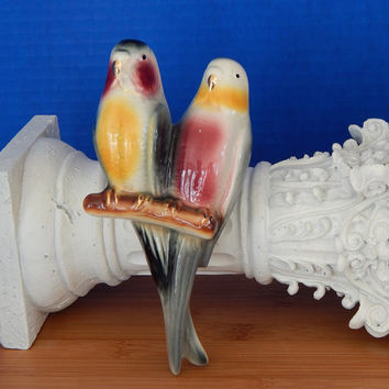 Vintage Parakeet Wall Pocket, Vase, Pottery, Birds of a Feather, Love Birds