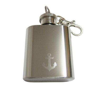 Silver Toned Etched Nautical Anchor 1 Oz. Stainless Steel Key Chain Flask