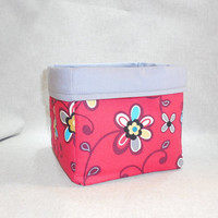 Pretty Red and Gray Floral Fabric Basket