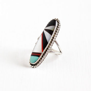 Vintage Sterling Silver Turquoise, Onyx, Coral, MOP Ring - Retro 1960s Size 6.5 Southwestern Native American Zuni Boho Statement Jewelry