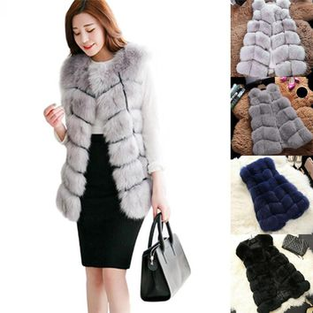 New Arrival Winter High Quality Warm Luxury Fur Vest For Ladies Women Faux Fur Coat Vests Women's Coats Jacket Furry Coat