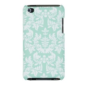Mint Green Flower Embossed Hard Case for Apple iPod Touch 4, 4G (4th Generation) - Includes DandyCase Keychain Screen Cleaner [Retail Packaging by DandyCase]