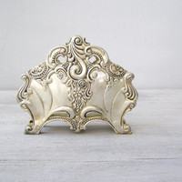 Antique Victorian Napkin or Letter Holder, Art Nouveau Silver Plated Tableware, Dining room collectible, hostess wedding gift, Holiday decor