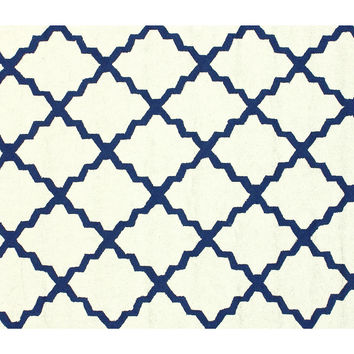 Ryker Outdoor Rug, White/Blue, Area Rugs