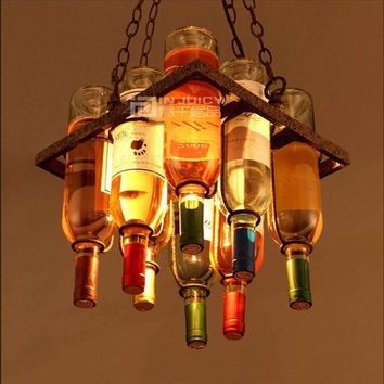 Vintage Cafe Loft Bar Iron Wine Bottle Lamp Chandelier Ceiling Droplight Store Cafe Bar Loft Corridor