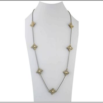 "36"" Two Tone Crystal & Pearl Necklace"