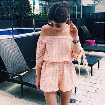 Lace Cut Out Off Shoulder Bow-knot Sleeve Romper