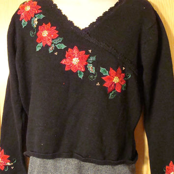 Tacky Holiday Sweater with Bright Red Poinsettias on Front and Sleeves (f1057)