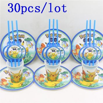 30pcs\lot Pikachu Cartoon Baby Shower Decoration Birthday Party Straws  Go Paper Cups Kids Favors Plates Happy SuppliesKawaii Pokemon go  AT_89_9