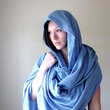 $36.00 EXTRA LONG scarf in cornflower blue cotton gauze by EcoShag