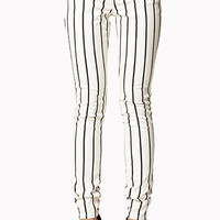 Vertically Striped Skinny Jeans