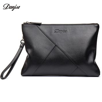 Day Clutches Bag Real Leather Men Hand Bag Genuine Leather Business Phone Bag Long Wrist Bag Men Daily Wallet