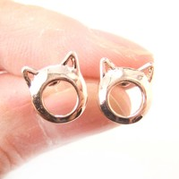 Kitty Cat Animal Ears Cut Out Stud Earrings in Rose Gold | DOTOLY