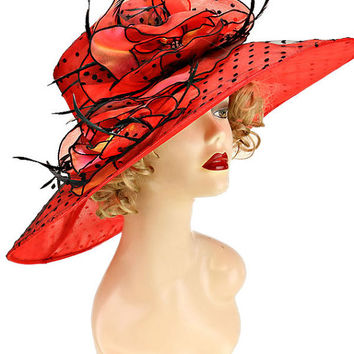Kentucky Derby Church Wedding Polka Dot Wide Brimmed Floral & Feathers Organza Hat Red