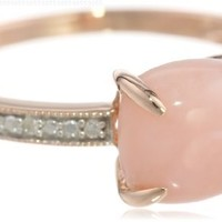 10k Rose Gold Pink Opal and Diamond Ring, (0.03 Cttw, G-H Color, I1-I2 Clarity), Size 8