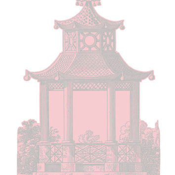 "Wall Decal - Pagoda - Pink and Grey - Size 45.3"" x 82″"