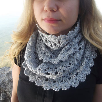 Galaxy Scarf, Gray Sequin Scarf Handknit infinity Scarf, Women Scarves, Knitted scarf, Winter Accessories, Outfits