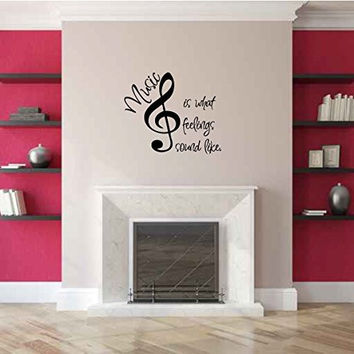 Music is What Feelings Sound Like Vinyl Wall Words Decal Sticker Graphic