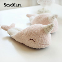 SexeMara Cute Unicorn Slippers Women Warm Indoor Home Slippers Fashion Winter Deerskin Anti-slip Soles Cotton Slipper S043