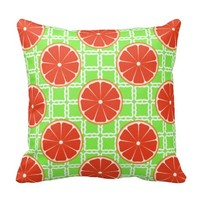 Bright Summer Citrus Grapefruits on Green Squares