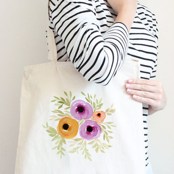 Watercolor Floral Tote Bag - Canvas Tote Bag - Bridesmaid Gift Bag - Watercolor Tote Bag 15x15 Reusable Grocery Bag - Watercolor Canvas Bag