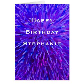 Happy Birthday, Personalized Multi Purple Abstract Card