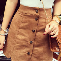 Brown High Waist Button Scalloped Suede Mini Pencil Skirt