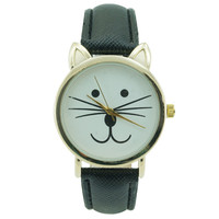 Ladies Cat Leather Watch 35mm Black