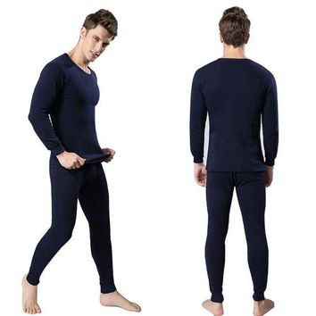 DCCKJG2 Winter Warm Men 2Pcs Cotton Thermal Underwear Set Thicken Long Johns Tops Bottom Navy Blue, Dark Gray, Light Gray