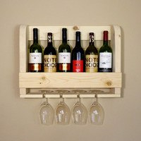 Unfinished Wine Rack With Wine Glass Holders