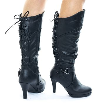 Page65 Black Mid Calf High Heel Boots w Rear Back Corset Lace Up & Harness