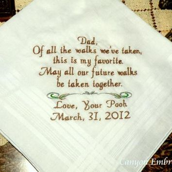 Embroidered Wedding Handkerchief Gift for Dad Handkerchief from the Bride to her Father Father of the Bride Gift to Dad By Canyon Embroidery