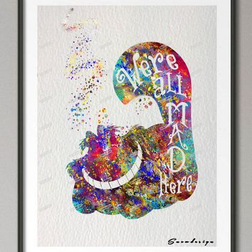 DIY Original watercolor Alice in Wonderland Cheshire Cat canvas painting wall art poster prints Pictures living room Decor gifts