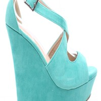 MINT FAUX SUEDE CRISS CROSS STRAP PLATFORM WEDGE