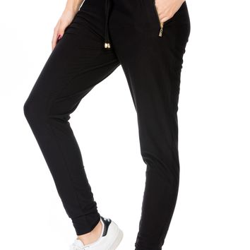 Black Comfy Jogger Pants with Zipper Side Pockets One Size
