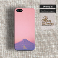 iPhone 5 case, iPhone 4 case, Decoupage case for iPhone : Pink sky on fuji mountain.