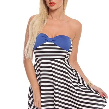 BLUE BLACK WHITE STRIPES STRAPLESS A-LINE DRESS