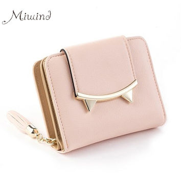 Cute Cat Anime Leather Trifold Slim Small Clutch
