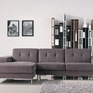 Modern Fabric Sectional Grey Sofa