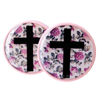 Cross on Floral Wallpaper BMA Plugs (2.5mm-27mm)