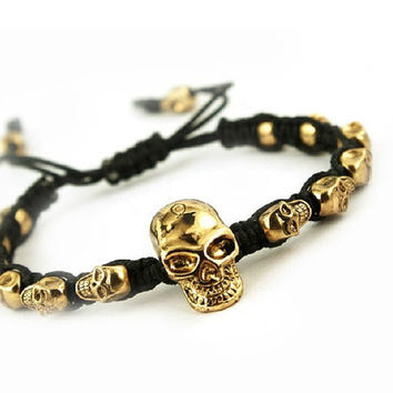 Skull BraceletSkull Hand Weaving Bracelet by sanny1983 on Etsy